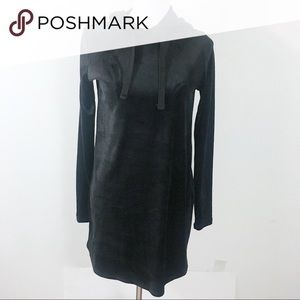 Black Sweater Dress with Hoodie